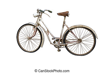 Old bicycle isolated on white - Old bicycle with weels...