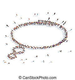 People in the shape of a chat bubble. - Large group of...