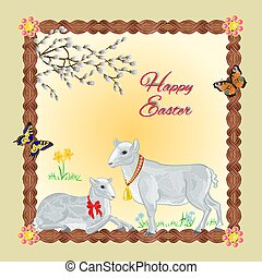 Two lambs and daffodil Easter background place for text...