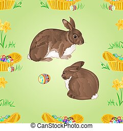 Seamless texture easter  rabbits
