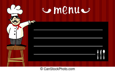 Chef and daily menu - Funny chef on a wooden bench, holding...