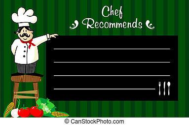 chef, lavagna, suo, raccomandazioni