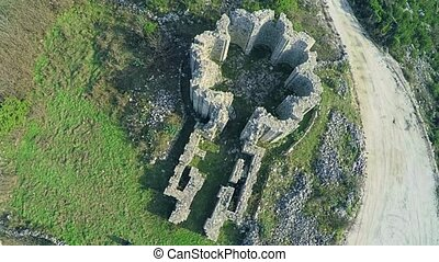 Pre-romanesque church ruins Rotonda, aerial - Copter aerial...