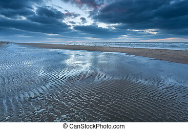 low tide on North sea beach, Holland