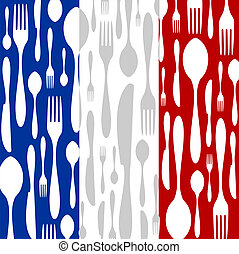 French Cuisine: Cutlery pattern on the country flag - French...
