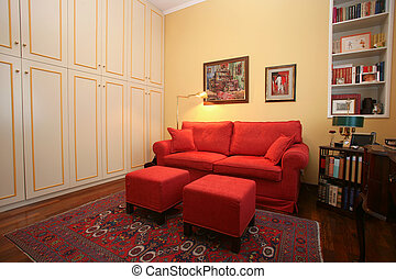 Study - Classic style study with built-in wardrobe and sofa