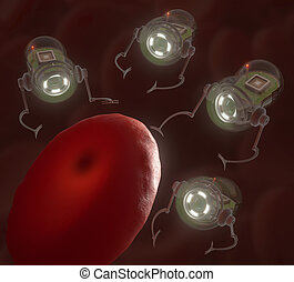 Nanobots surrounding a hemoglobin infected by virus