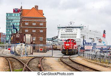 KIEL, alemania, -, Junio, 01:, ferrocarril, en, Kiel, Puerto...