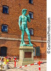 Copy, of, Michelangelo's, David, statue, in, Copenhagen,...