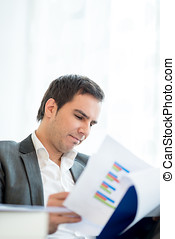Businessman reading an analytical report studying the graphs...