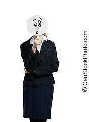 Unrecognizable businesswoman - Businesswoman hiding her face...