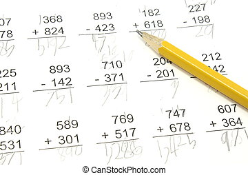 Math Test - 3rd grade math problems with pencil on top pf...