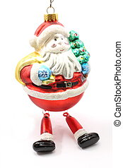 Glass santa ornament - A glass Santa Claus ornament on a...