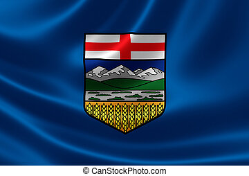 Alberta Provincial Flag of Canada - 3D rendering of the...
