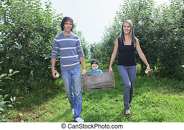 A happy family of attractive caucasian catch apple