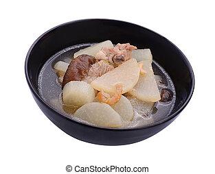 sopa, rábano, con, Cerdo, Sirva, en, tazón,...