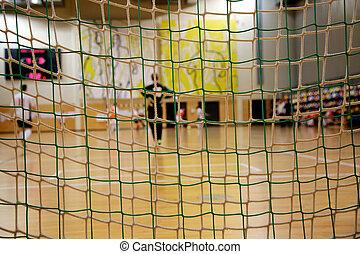 Futsal, portero, Mirar, a, el, campo,
