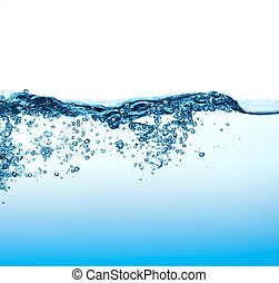 Water Waves with Bubbles. - Clear blue water wawes with...