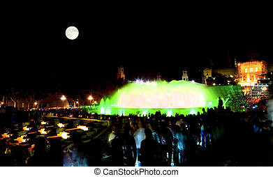 The famous Montjuic Fountain in Barcelona