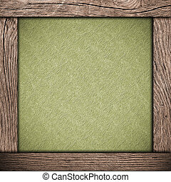 wood frame with green paper
