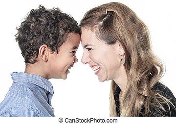 a, portrait, de, heureux, gai, africaine, famille,...