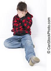 Um, triste, jovem, Menino, sentar, ligado, branca, fundo,
