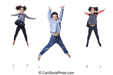 A cute african american little child jump isolated on white backgr