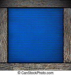wood frame with blue paper