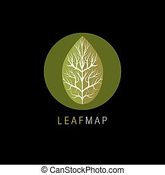 Leaf Map Icon - An image of a leaf map icon.