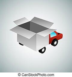 3d Box Truck - An image of an abstract 3d box truck