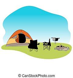 Campground Background Icon - An image of a camping...