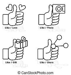 Thumbs Up Icon Set - An image of a thumbs up icon set