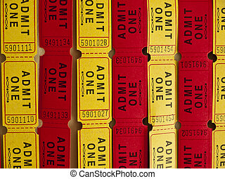Admit One Tickets - Strips of red and yellow admit one...