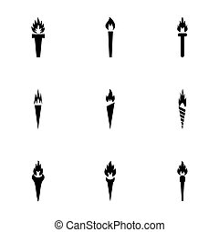 Vector torch icon set on white background