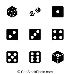 Vector dice icon set on white background