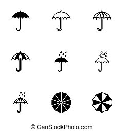 Vector umbrella icon set on white background