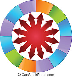 Colorful Arrow Wheel isolated on a white background.