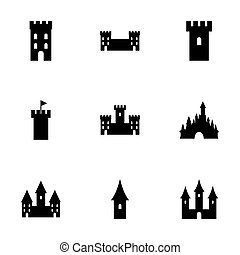 Vector castle icon set on white background
