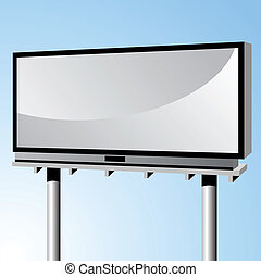 blank urban billboard sign with blue sky background.
