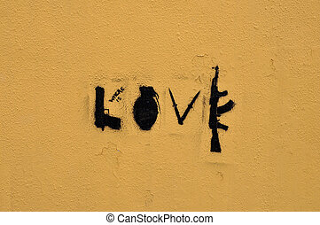 love of destruction - Guns and knives form the word love....