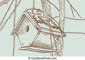 Birdhouse drawing in brown and green colors.
