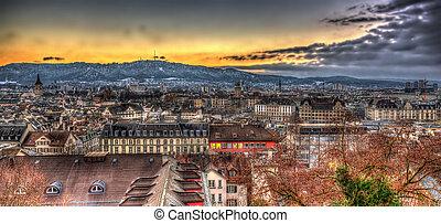 View of Zurich on a winter evening - Switzerland