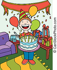 Birthday Party Time Art isolated in a hand drawn cartoon...