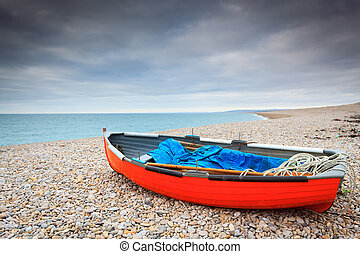 Chesil Cove Isle Of Portland Dorset - Boat on the beach at...