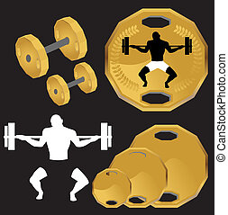 Weight Lifting Set isolated on a black background.