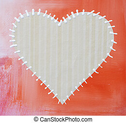 collage artwork with stiched heart - collage artwork with...