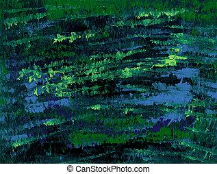 Fluorescent Pond Scape - Impressionist Pond