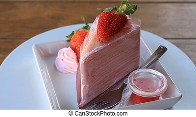 Serving Strawberry Crepe Cake Up Closed, Stock Video