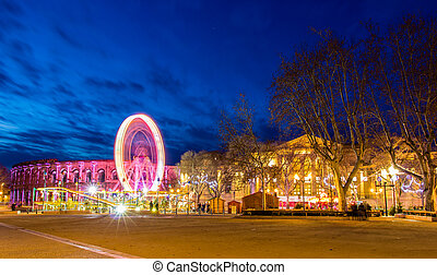 View of the Esplanade Charles-de-Gaulle, a central square in...