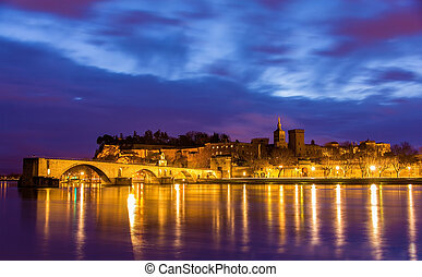 View of medieval town Avignon at morning, UNESCO world...